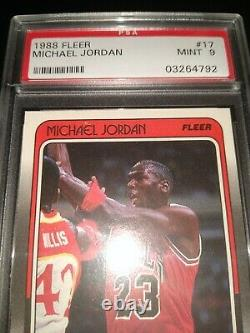 1988 FLEER Michael Jordan #17 PSA 9 MINT Chicago Bulls UNC Tarheels Wizards