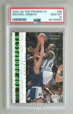 2003 Upper Deck Top Prospects Michael Jordan #58 UNC Tar Heels, PSA 10 NEW GRADE