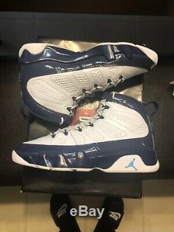 2019 Nike Air Jordan 9 Retro SZ 10 White Carolina Blue UNC Tarheels