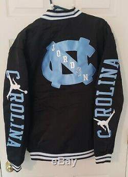 $250 Nike Jordan UNC North Carolina Tar Heels Satin Stitched Bomber Mens Large