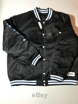 L Nike Jordan UNC Black Satin Stitched Bomber Jacket Tarheels BV3927-010 $250