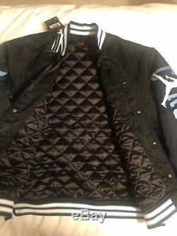 M Nike Jordan UNC Black Satin Stitched Bomber Jacket Tarheels BV3927-010 $250