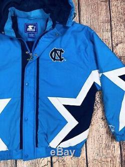 Mens Vintage 90s Starter North Carolina UNC Tar Heels Puffer Jacket Sz M Blue