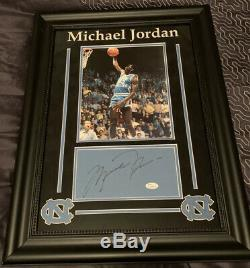 Michael Jordan JSA signed AUTOGRAPH TAR HEELS CUT Framed 18x 24 UNC Bulls COA