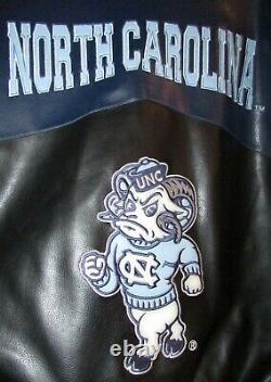 NCAA Univ of North Carolina UNC Tar Heels Faux Leather Jacket Sz Large by G-III