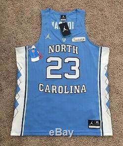New $150 Nike Michael Jordan UNC Tar Heels Jersey bulls Stitched Sewn X-Large XL
