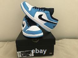 Nike Air Jordan 1 Low UNC White Powder Blue Obsidian 553558-144 Mens Size 10.5