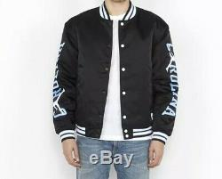 Nike Jordan UNC Black Satin Stitched Bomber Jacket Tarheels BV3927-010 $250 Sz M