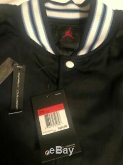 Nike Jordan UNC Black Satin Stitched Bomber Jacket Tarheels BV3927-010 L/large