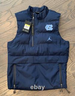 Nike Jordan UNC Tarheels Tech Puffed Vest Navy Blue Size Small