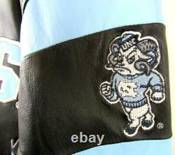North Carolina Tar Heels Men Medium Full Zip TAR HEELS All Leather Jacket UNC 5
