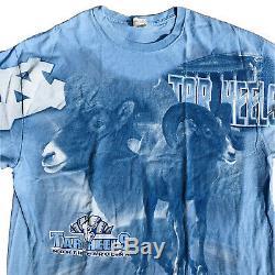North Carolina Tar Heels Rare Vintage All Over Print Shirt Mens 2XL Blue UNC