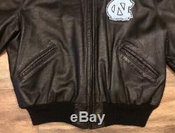 North Carolina Tar Heels UNC Vintage DeLong Zip Up Leather Jacket Mens 46 Large