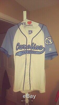 North Carolina Tarheels Throwback Baseball Script Starter Jersey Large Mint! UNC