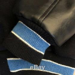 Official Neff Mens XL UNC Tar Heels Varsity Bomber Jacket Navy Wool Leather Slvs