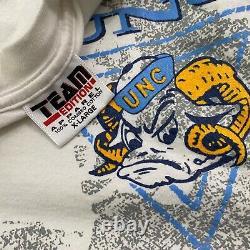 RARE VTG 90s UNC Tar Heels AOP Spellout T Shirt Football USA XL NCAA College