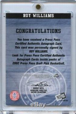 Roy Williams Auto 2002 Press Pass Unc Tar Heels North Carolina Signed Autograph