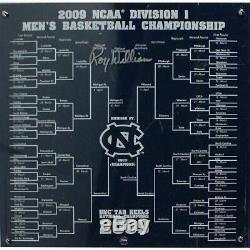 Roy Williams UNC Tar Heels Signed Final Four Floor Piece & 2009 NCAA Bracket