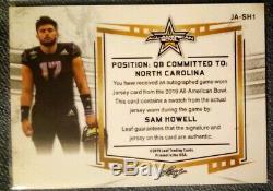 Sam Howell 1/1 Auto Tag Patch 2019 Leaf Army All American UNC Tar heels