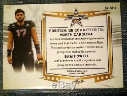 Sam Howell 1/2 Auto Bowl Patch 2019 Leaf Army All American UNC Tar Heels