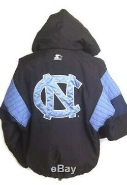 Starter North Carolina UNC Tar Heels Jacket Mens L Black Blue Vintage 90's
