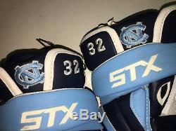 UNC North Carolina Tar Heels #32 Game Used Worn Lacrosse Gloves STX ASSAULT