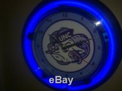 UNC North Carolina Tar Heels Basketball Bar Man Cave Blue Neon Wall Clock Sign