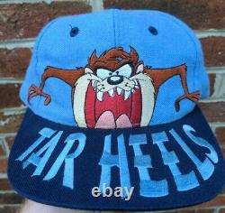 VTG 90s North Carolina UNC tar heels tasmanian Taz Devil Snapback Hat big logo