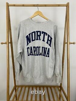 VTG Champion 90s North Carolina UNC Tar Heels Reverse Weave Sweatshirt RARE XXL