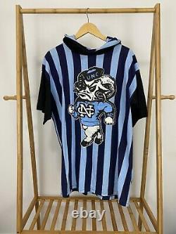 VTG UNC Carolina Tar Heels Big Rameses Striped Short Sleeve Light Hoodie XL EUC