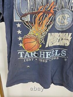 VTG UNC Tar Heels NCAA National Champs Sun Faded Thrashed T-Shirt L USA