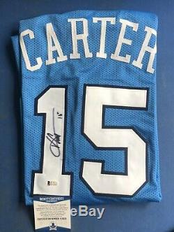 Vince Carter Autographed UNC Tar Heels Custom Blue Basketball Jersey, BAS COA