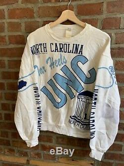 Vintage 80s UNC North Carolina Tar Heels Crewneck Sweatshirt Majestic Size M