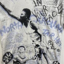 Vintage 90s North Carolina Tar Heels UNC all over print tshirt sz XL Basketball