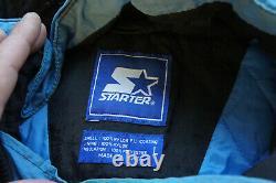 Vintage 90s UNC Tarheels Carolina Vtg Starter 1/2 Zip Hooded Jacket Puffer o49