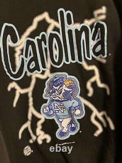 Vintage 90s UNC Tarheels Sweatshirt Crewneck L Lightning American Thunder Black