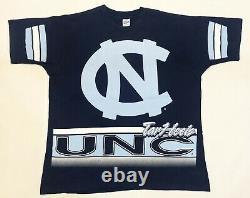 Vintage Salem NCAA UNC Tar Heels All Over Print T-Shirt Navy Blue XL Tee USA