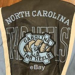 Vintage UNC Tar heels 100% Leather Bomber Jacket Medium North Carolina Black