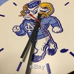 Vintage UNC Tarheels NCAA Plastic Pennant Clock RARE Not Tested