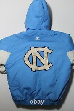 Vintage UNC Univ. North Carolina Tarheels Starter Puffer Jacket Hooded Size M/L