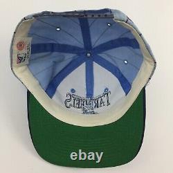 Vtg 90s North Carolina Tar Heels Cap Pin Stripe UNC Snapback Game Basketball Hat
