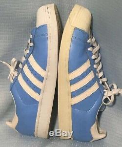 12 Vintage 1997 Adidas En Cuir Verni Superstar Tar Heels Unc Lt. Blue Utilisé Qu'une Seule Fois