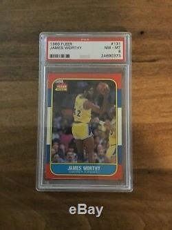 1986 Fleer James Worthy # 131 Lakers De Basketball Rookie Grade Psa 8 Roues Unc