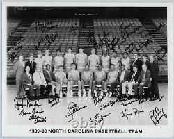 1989-90 Unc Tar Heels Autograph Black And White Team Photo W Dean Smith Perfect