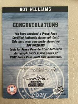 2002 Roy Williams Press Pass Auto Unc Tarheels Autographe Caroline Du Nord Kansas