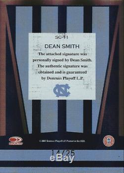 2007 Dean Smith Donruss Elite Colours # / 25 Autographe Unc Roues De Caroline Du Nord