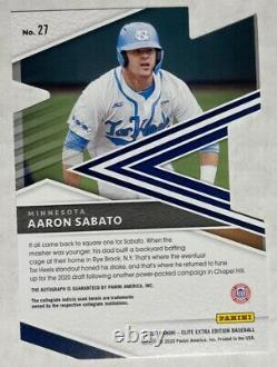 2020 Elite Extra Edition Aaron Sabato Auto Rc Die-cut 1/1 Twins Unc Tarheels