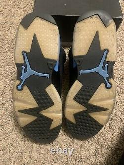 Air Jordan 6 Retro VI Noir Unc Bleu Taille 10,5 Hommes 384664-006 Talons De Goudron