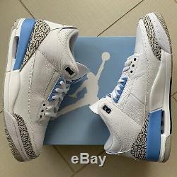 Air Jordan Retro 3 Unc Blanc Bleu Ct8532-104 Taille 13 Heels Hommes Carolina Tar