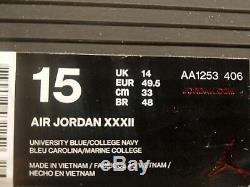Chaussures Nike Air Jordan XXXII 32 Unc Caroline Du Nord Pour Homme Taille 15 Aa1253 406 Nouveau